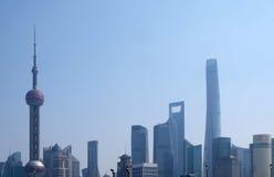 Landschap van de wolkenkrabbersgebouwen van het Lujiazui het financiële district in Shanghai Royalty-vrije Stock Afbeelding