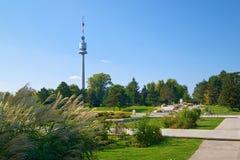 Landschap van Donau-park in Wenen Stock Afbeelding