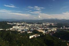 Landschap van een binnenlandse stad in China Stock Afbeeldingen