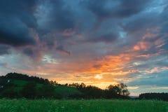 Landschap van een grassfield en een heuvel bij zonsondergang Stock Afbeeldingen