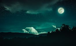 Landschap van emeral nachthemel met veel sterren en mooi hoogtepunt Royalty-vrije Stock Fotografie