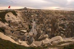 Landschap van Goreme-het punt van de zonsondergangmening Cappadocia Nevsehirprovincie Turkije royalty-vrije stock foto's