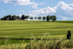 Landschap van groene heuvel met een huis Stock Foto's