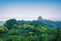 Landschap van hangzhou het beroemde chenghuangge van China in de avond Stock Foto's