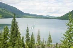 Landschap van het meer onder bergen en het hout Stock Foto