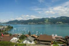 Landschap van het meer in Zwitserland Stock Afbeelding