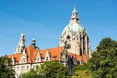 Landschap van het Nieuwe Stadhuis in Hanover, Duitsland Stock Foto
