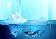 Landschap van het noordelijke en Antarctische leven Ijsberg in oceaan Stock Afbeeldingen