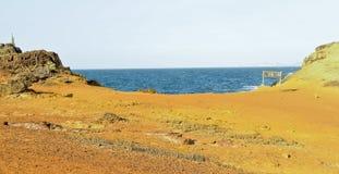 landschap van het overweldigen van Faro-Eiland, het Nationale Park van Mochima, Venezuela, Zuid-Amerika Stock Afbeelding