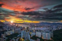 Landschap van Hete luchtballon over de hemel van Hongkong royalty-vrije stock afbeeldingen
