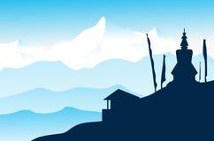 Landschap van Himalayagebergte Royalty-vrije Illustratie