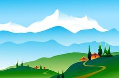 Landschap van Himalayagebergte Stock Illustratie
