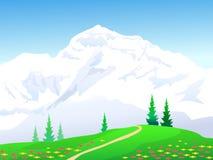 Landschap van Himalayagebergte Vector Illustratie