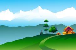 Landschap van Himalayagebergte - Vectorillustratie Stock Illustratie