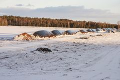 Landschap van industrieel afgevoerd die turfmoeras met sneeuw in de winter wordt behandeld royalty-vrije stock afbeelding