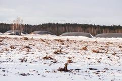 Landschap van industrieel afgevoerd die turfmoeras met sneeuw wordt behandeld royalty-vrije stock foto's