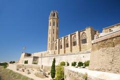 Landschap van kathedraal bij Lleida stad Stock Afbeelding