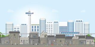 Landschap van krottenwijkstad of oude stadskrottenwijk op stedelijk stadslandschap met eigentijdse gebouwen royalty-vrije illustratie