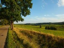 Landschap van Masuria in Polen Weg onder weiden royalty-vrije stock afbeelding