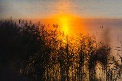 Landschap van meer bij zonsondergang Stock Foto