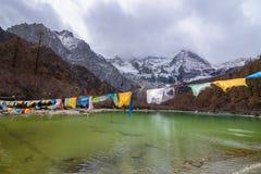Landschap van meer in Yading, Sichuan Royalty-vrije Stock Foto's