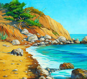 Landschap van Middellandse Zee met een strand en een baai, het schilderen B royalty-vrije stock foto