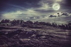 Landschap van nachthemel met volle maan, backgrou van de sereniteitsaard Stock Afbeelding