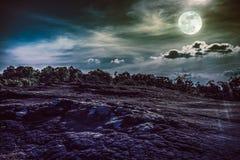 Landschap van nachthemel met volle maan, backgrou van de sereniteitsaard Royalty-vrije Stock Foto