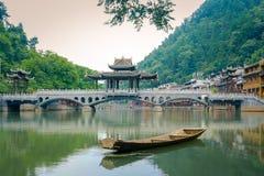 Landschap van oude townFenghuang van Phoenix, Hunan, China stock afbeeldingen