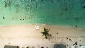 Landschap van paradijs tropisch eiland in het Caraïbische overzees Wild exotisch strand, satellietbeeld stock video