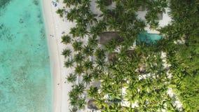 Landschap van paradijs tropisch eiland in het Cara?bische overzees Wild exotisch strand, satellietbeeld stock video