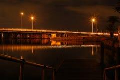 Landschap van pier en pijler bij nacht Stock Afbeelding