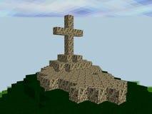 Landschap van pixelvierkanten wordt gemaakt met kruis op de bovenkant die Stock Foto