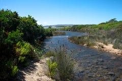 Landschap van platteland met installaties en rivier royalty-vrije stock foto's