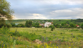 Landschap van plattelandshuisjes op groene weide. Stock Foto