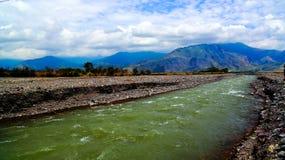 Landschap van Ramu-rivier en vallei, Madang, Papoea Nieuwe Gunea Royalty-vrije Stock Afbeeldingen