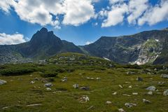 Landschap van Rila-Berg dichtbij, de Zeven Rila-Meren, Bulgarije Royalty-vrije Stock Foto's