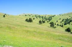 Landschap van sidehill in de bergen van de Pyreneeën Stock Afbeeldingen