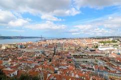 Landschap van St George castel in Lissabon Stock Afbeeldingen