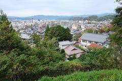Landschap van Takayama-stad vanaf de bovenkant Royalty-vrije Stock Afbeeldingen