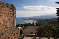 Landschap van Taormina Stock Afbeeldingen
