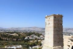 Landschap van toren Agrippa van de Akropolis Propylaea stock afbeelding