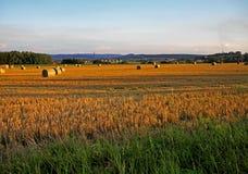 Landschap van Tsjechische Republiek in zonsondergang Royalty-vrije Stock Foto's