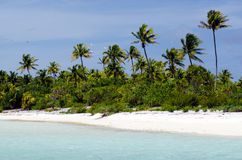 Landschap van van Maina Island in Aitutaki-Lagune Cook Islands Royalty-vrije Stock Afbeeldingen