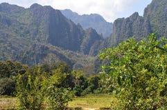 Landschap van vang vieng Stock Fotografie