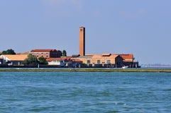 Landschap van Venetië met lichtblauwe overzees royalty-vrije stock foto's