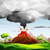 Landschap van vulkanische uitbarsting met lava het stromen en aswolk op groene gebieden onder boom-natuurlijk rampenconcept Stock Foto's