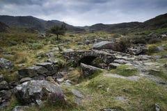 Landschap van weg op berghelling op de Zomerochtend Stock Afbeeldingen