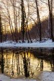 Landschap van wilde rivier met de bezinning van de zonsonderganghemel in de bergen, in de winter Royalty-vrije Stock Afbeeldingen