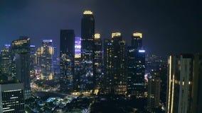 Landschap van wolkenkrabbers in Sudirman CBD van Djakarta stock videobeelden